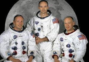Tripulación del Apolo XI. De izquierda a derecha: Neil Armstrong, Michael Collins y Edwin 'Buzz' Aldrin.